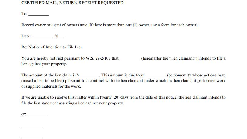 Notice of Intention to File Lien