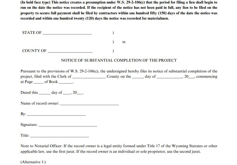 Notice of Substantial Completion 1