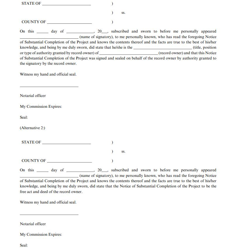 Notice of Substantial Completion 2